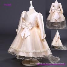 Nuevo vestido de boda de las muchachas que vienen manga larga vestido de niña de las flores apliques de encaje volantes niñas vestidos del desfile barrer los niños vestido de fiesta