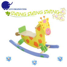 Safety Baby Kids Lovely Giraffe Wooden Rocking Horse