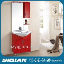 Design irakien et turc simple, monté au sol, brillant, armoire de salle de bain rouge, étanche, PVC, salle de bain, vanité