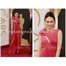 Glamorous Coral Full-length Pleated Chiffon Evening Dress 2014 The 86th Academy Awards Olga Kurylenko Celebrity Gowns NB0338
