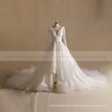 Pretty Plunge Neck manga larga de encaje vestido de novia de Applique