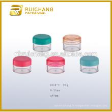 Récipient cosmétique en plastique de 20 g / pot, pot de crème cosmétiques, pot plastique en plastique, emballage en plastique cosmétique