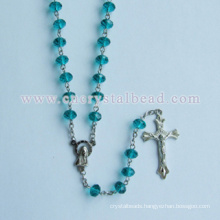 Sea Blue Round Faceted Cut Glass Bead Rosary