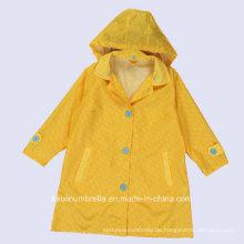 PU beschichtete lange Nylon Gelb Farbe Regenmantel
