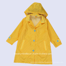 PU Coated Long Nylon Yellow Color Raincoat