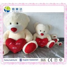 Beige Stuffed Plush Teddy Bear with Red Heart Toy