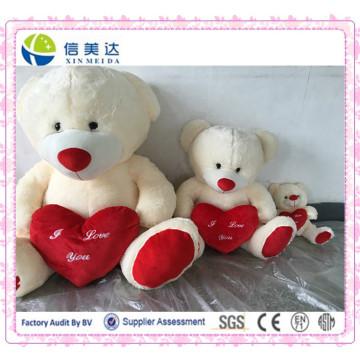 Beige Gefüllter Plüsch Teddybär mit rotem Herzspielzeug