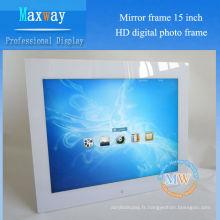 Full HD décodage 1080p 15 pouces boucle vidéo numérique cadre