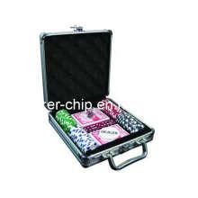 La viruta de póker 100PCS fijó en la caja de aluminio (SY-S07)