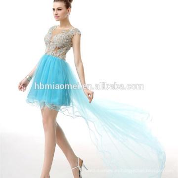 Vestido de noche largo con espalda descubierta y espalda corta azul gasa apliques