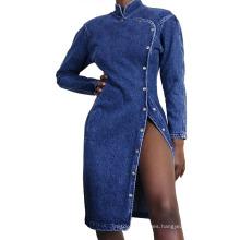 New Season High Split Cheongsam Design Fancy Evening New Arrivals 2021 Denim Woman Dresses