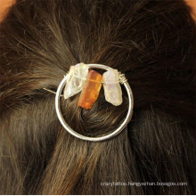 Indian Fashion Hair Jewelry Accessories Natural Colorful Point Stone Handmade DIY Girl Vintage Hairpin