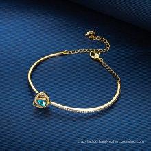 European American Fashion Jewellery Gold Jewelry Gifts Blue Crystal Austria Love Bangle Adjustable Bracelet for Women