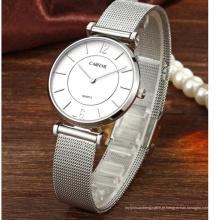 Relógio de aço inoxidável de luxo personalizado malha Japão movimento