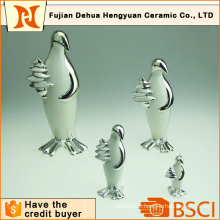 Plating Ceramic Penguin Craft for Home Decoration