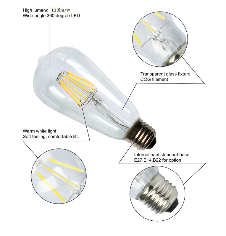 ST64 E27 6W 180V/240V LED Filament Lamp