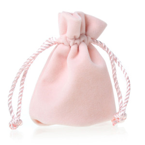 White velvet gift bag with white string