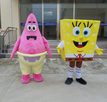 SpongeBob SquarePants and Patrick Star Mascot Costume Hand-made High Quality Cartoon Character Costume Party Supply