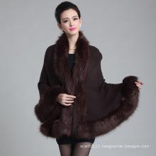 Lady Fashion Paisley Jacquard Acrylic Knitted Fur Winter Shawl (YKY4461)