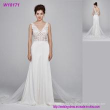 Nuevo vestido de novia por encargo fabricantes Sirena de encaje cubierto Volver