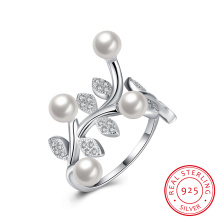 Pear and Flower Shape Pure Silver Ring 925 Sterling Silver Women Jewelry