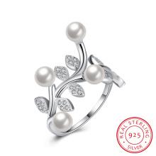 Pera y forma de la flor de plata pura anillo de 925 mujeres de plata de ley joyas