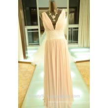 EN STOCK Vestido de seda verdadero SE18 del vestido del baile de fin de curso del v-cuello de las mujeres del vestido de partido de las correas de hombro