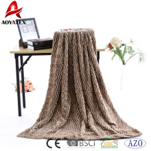 100% polyester zigzag plush luxury faux fur fabric pv fleece blanket
