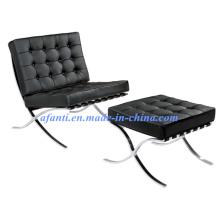 Барселона Кожаный диван-стул с османской (F66)