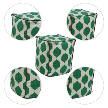 Living room furniture square moroccan pouf embroidered linen ottoman