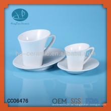 Weißer Porzellantasse und Untertasse, kundenspezifische Keramikschale und Untertasse mit Logo, Teetassen mit Teller