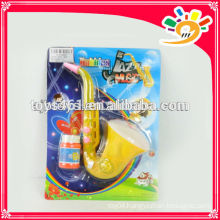 Plastic saxophone design bubble gun toy,cool bubble gun with light and music