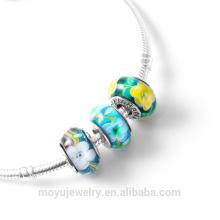 La flor colorida de la plata esterlina 925 rebordea el encanto para la pulsera de DIY
