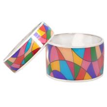 Sterling Silver Color Palette Multicolor Enamel Bangle Bracelet
