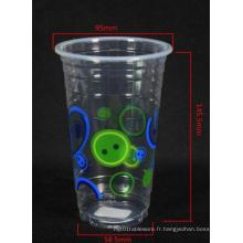 Tasse à boire froide en plastique jetable, 14/16 oz