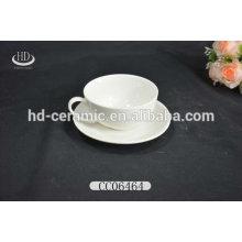 Promoção xícara de cerâmica branca e pires, fábrica da China direto copo de café por atacado cerâmica e pires