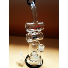 Mini Size Double Recycler Glass Water Pipe Oil Rig Barrel Perc Pyrex Smoking Pipe Hbking Enjoylife Vapor Rig