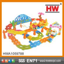 Most Popular B/O Cartoon Car Railway set light and music toy car track
