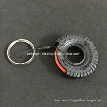 Keyring da forma do pneu de carro 3D de borracha para o presente relativo à promoção do carro