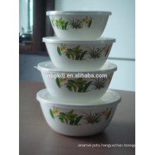enamel storage bowl with PE lids of customizing
