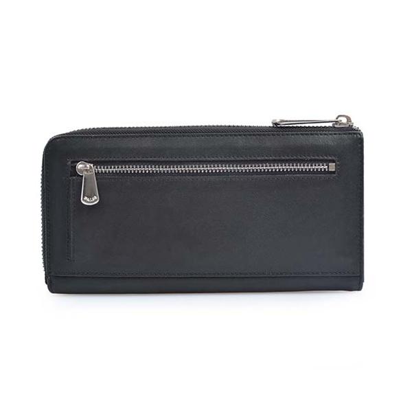 genuine leather travel purse zipper wallet