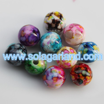 12MM 14MM Plastic Round Loose Spacer Painted Chunky Beads