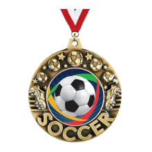 10 Years for Metal Medallions Crown's Soccer Medal With Antique Gold Finish supply to Portugal Exporter
