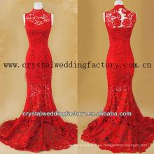 Vestido rojo del baile de fin de curso del cordón de la sirena real alta del collar CWFg