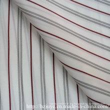 Tejido teñido hilado (raya negra y roja)