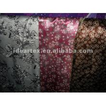 Seda-como tecido de cetim de impressos para personalizar-feito vestido da senhora