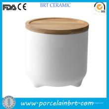 Tarro del almacenaje de cerámica blanco lindo diseño para Cookie