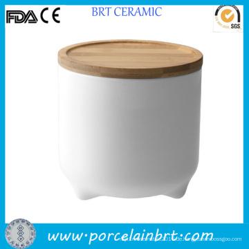 Weiße Keramik niedlichen Design Vorratsgefäß für Cookie
