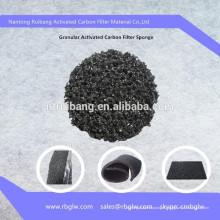 Purifier le filtre de mousse d'éponge de carbone de noix de coco de matériau de filtre