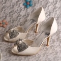 Talons Ivoire Peep Toe Strass Pour Mariage